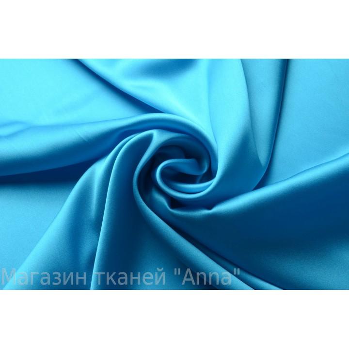 Ярко-голубой атласный натуральный шелк
