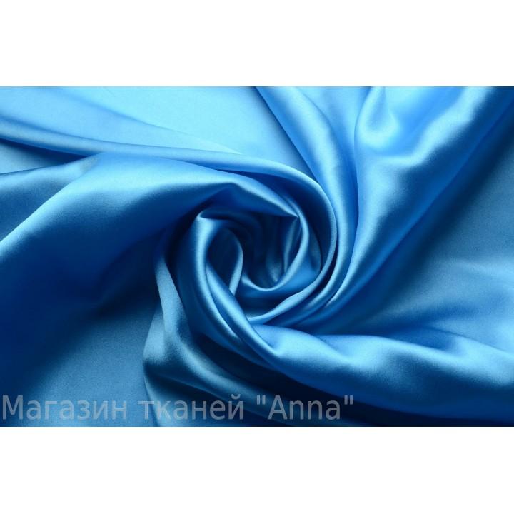 Шелк атласный однотонный небесного голубого цвета