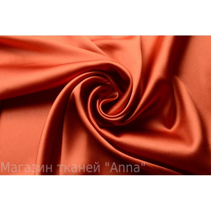 Терракотовый оранжевый оттенок атласного шелка