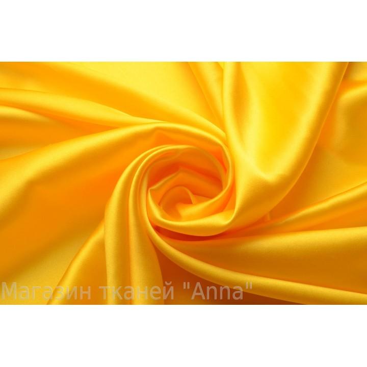 Ярко-желтый солнечный атласный шелк-стрейч