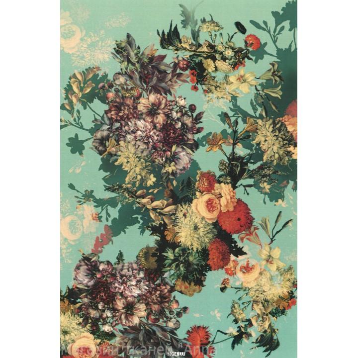 Ткань отрезается на метраж - цветы в спокойных тонах на светло зеленом фоне.