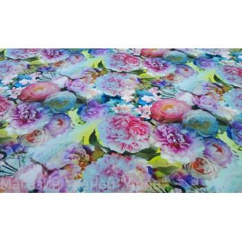Шелк-стрейч - хризантемы в пастельных тонах