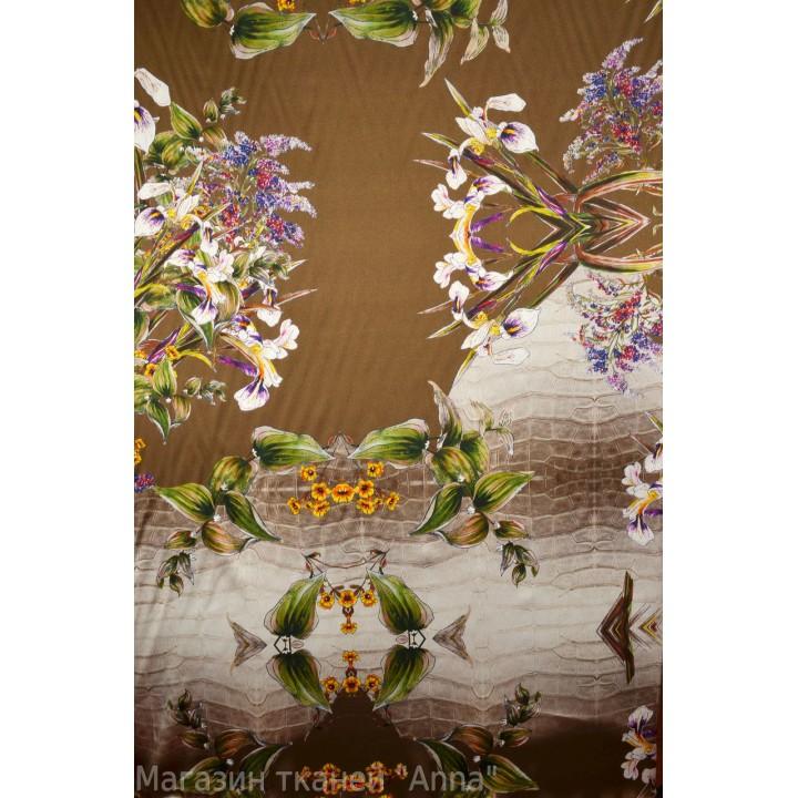 Шелк цветной с ирисами на коричневом фоне