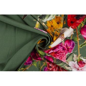 Атласный шелк коллекции D&G  - крупные цветы на оливковом фоне