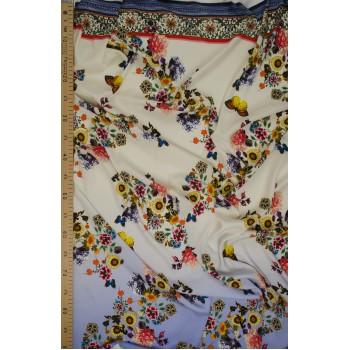 Матовый шелк с небольшими цветами на небесном голубом фоне