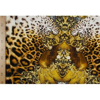 Натуральный шелк с леопардовым принтом и завитками