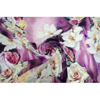 Матовый шелк стрейч с красивыми розами на ярком фоне