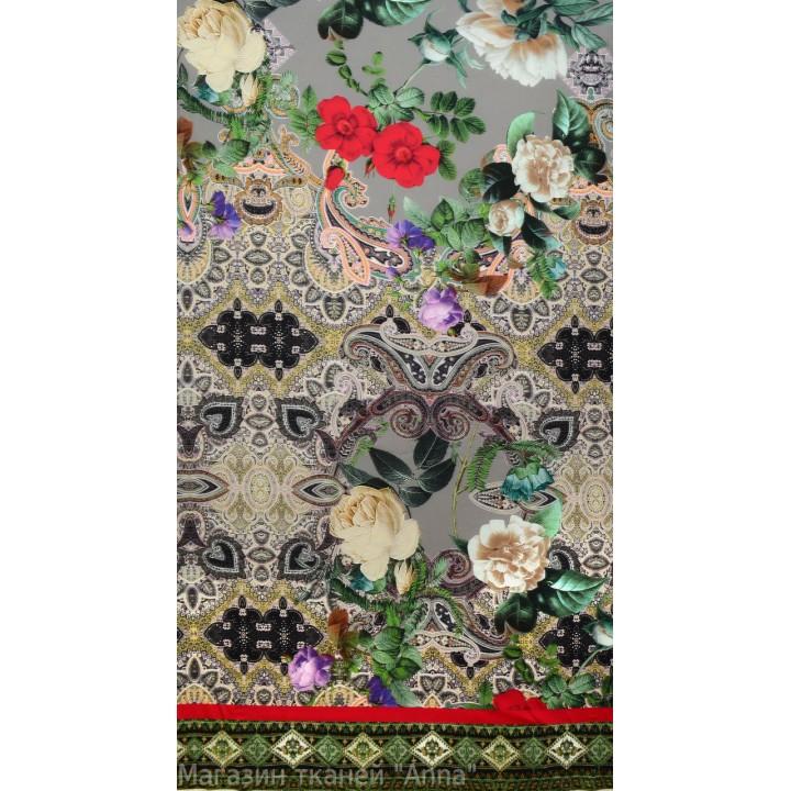 Шелк цветной Dolce&Gabbana с розами и индийским узором