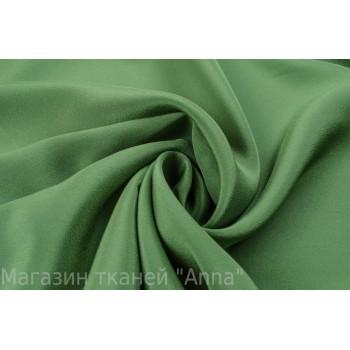Шелковый крепдешин спокойного зеленого оттенка