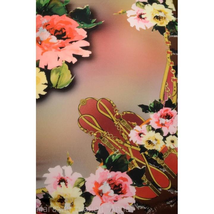 Крепдешин - цветы на коричневом фоне