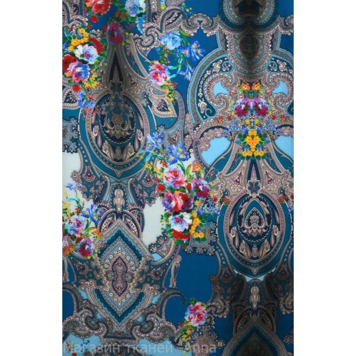 Индийские узоры пейсли с мелкими цветами - в синих тонах на крепдешине
