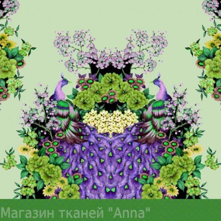 Птица павлин в зелено-фиолетовых тонах с цветами - ткань отрезается купонами длинлой 1 м