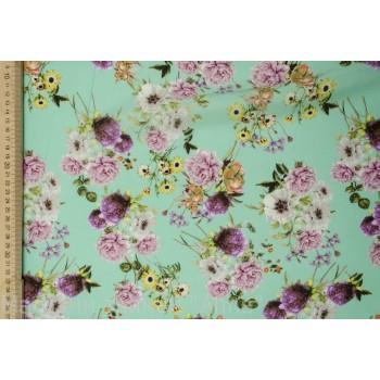Букеты розовых и сиреневых цветов на мятном фоне