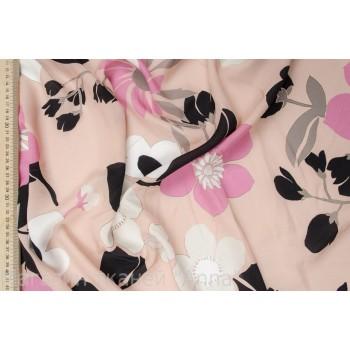 Шелковый креп - крупные цветы в розовых тонах
