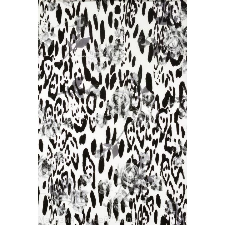 Крепдешин - леопард и розы в черно белом цвете