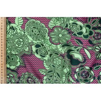 Интересные зеленые цветы на розовом фоне - легкий крепдешин