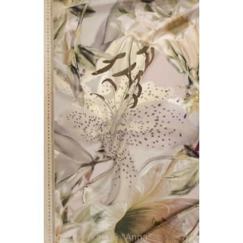 Шелковый креп - крупные Лилии в пастельных тонах