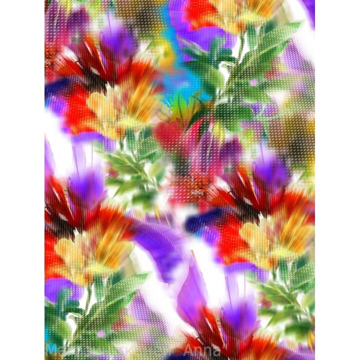 """Яркие краски лета в цветном крепдешина, принт с эффектом """"размытого принта"""", ткань отрезается на метраж."""