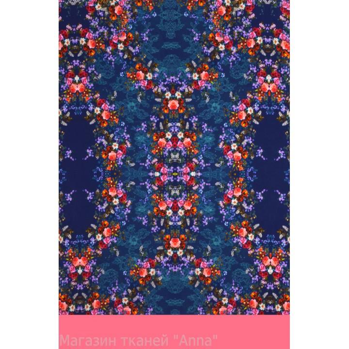 Мелкие цветочки на синем фоне - цветной крепдешин