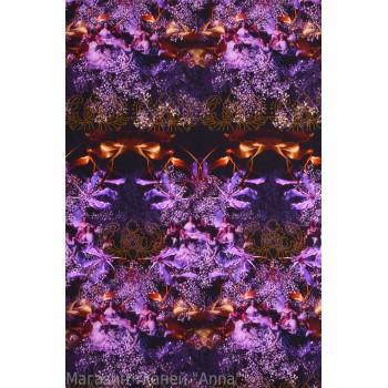 Мелкий принт в фиолетовых тонах - крепдешин