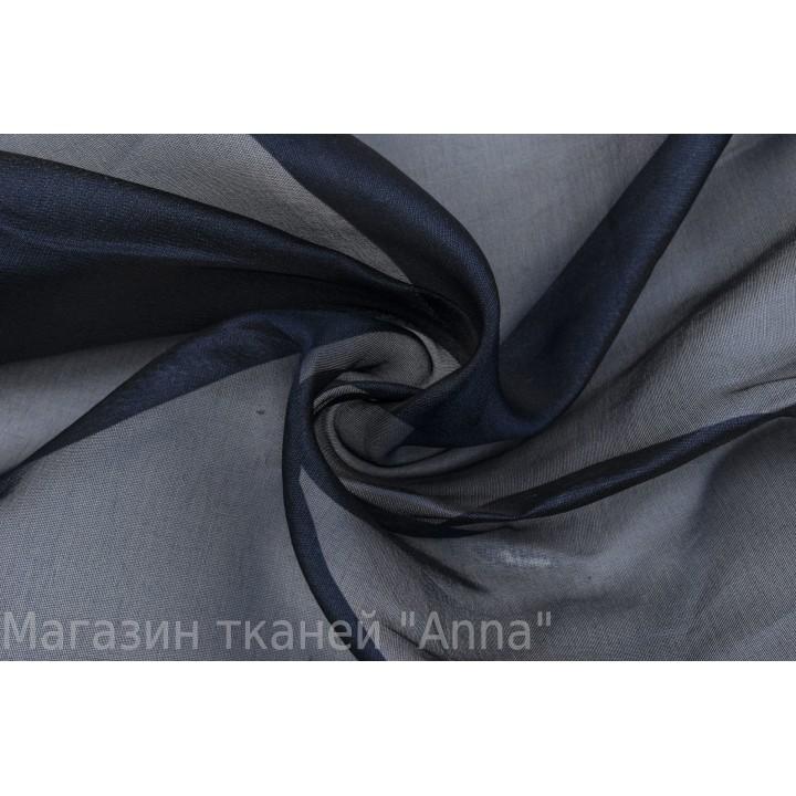 Темно-синяя шелковая органза