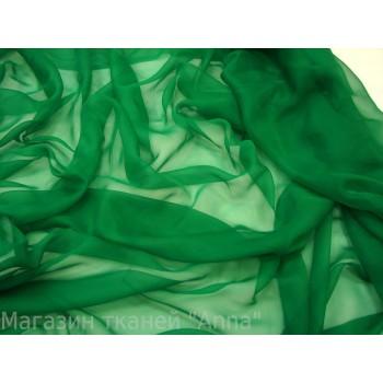 Шифон шелковый классического зеленого цвета
