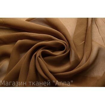 Светло коричневый шелковый шифон креповой текстуры