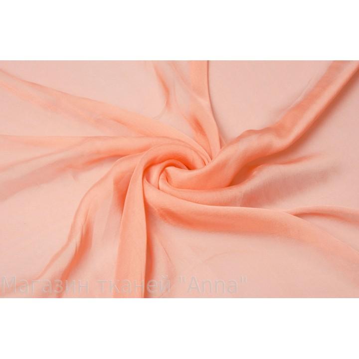 Гладкий прозрачный шифон персикового цвета