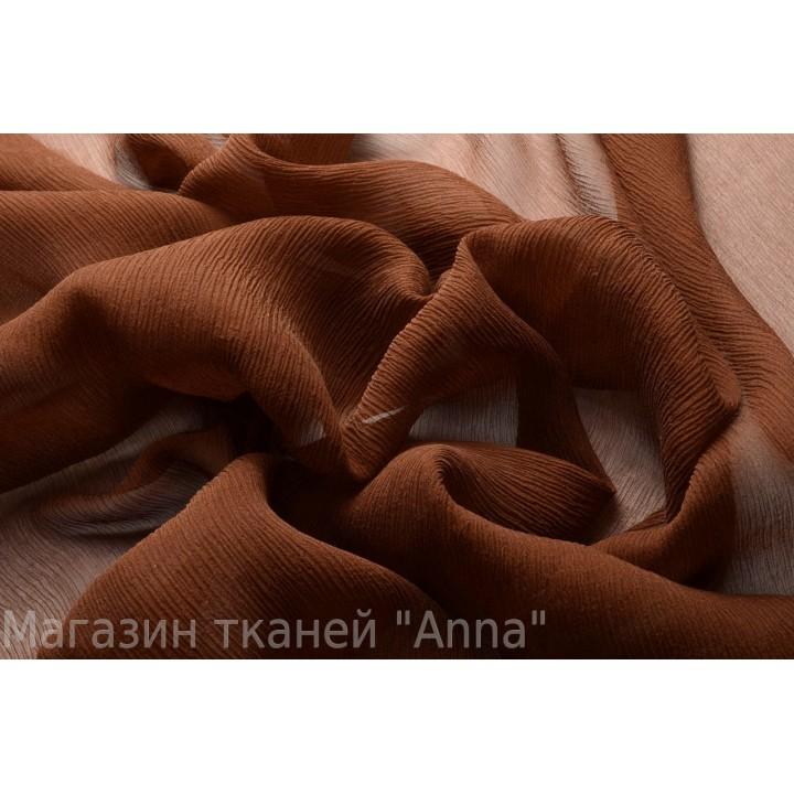 Шелковый шифон креш коричневого цвета