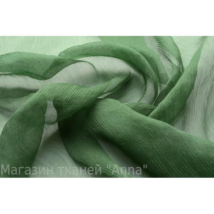 Шифон креш темно-зеленого травяного оттенка