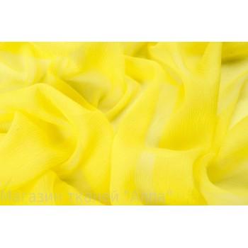 Шелковый шифон креш лимонного желтого оттенка