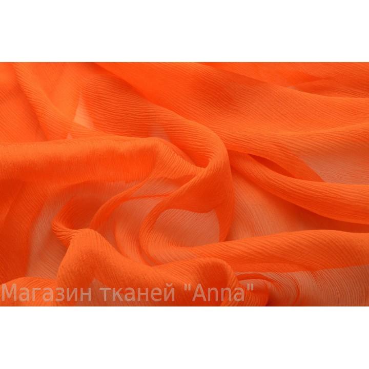 Шелковый шифон креш оранжевого оттенка