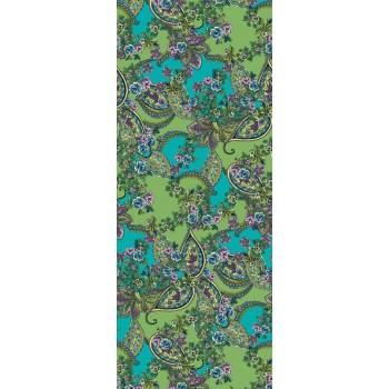 Тонкий полупрозрачный шелк с цветами и индийским узором