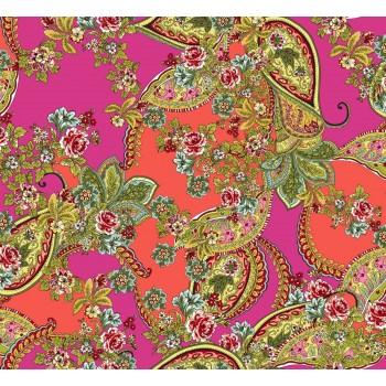 Тонкий полупрозрачный шелк с цветами и индийским узором в розово-малиновой гамме