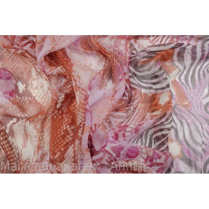 Шифон с хаотично расположенным узором под змею и зебру