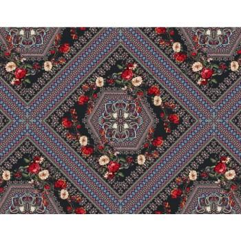 Шифон цветной - платочный принт с цветами
