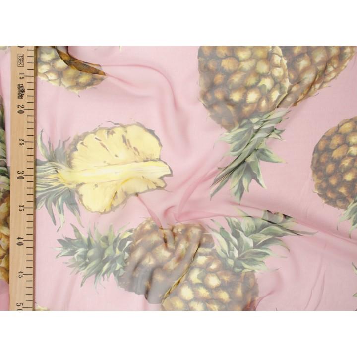 Шифон D&G с ананасами из натурального шелка