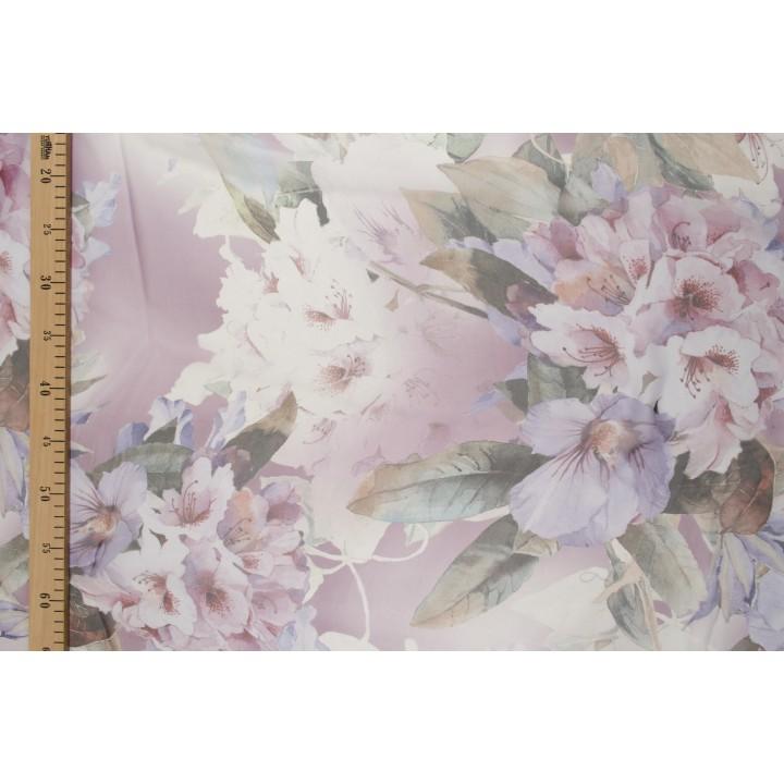 Гладкий шелковый шифон - нежные цветы в сиреневых тонах