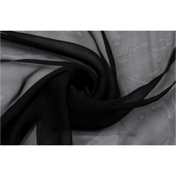 Гладкий шелковый шифон черного цвета