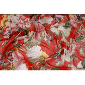 Ярко-красный шелковый шифон с красивыми цветами
