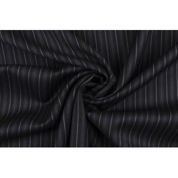 Натуральная шерстяная плательно-костюмная ткань в полоску