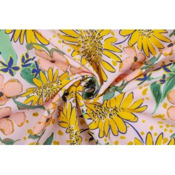 Костюмно-плательная ткань стрейч с ярко-желтыми цветами