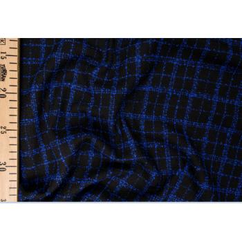 Черная ткань шанель в ярко-синюю клетку