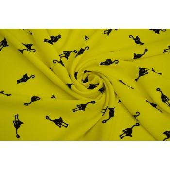 Ткань с кошками крепового плетения для яркого платья
