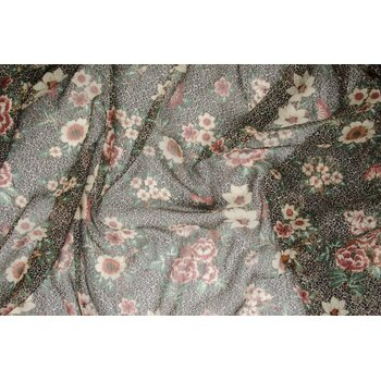 Легкая шифоновая ткань с цветочным принтом и мелкими завитками