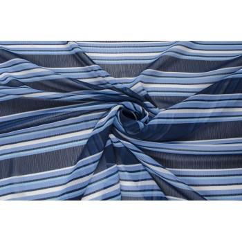 Шифон в поперечную полоску - оттенки синего цвета