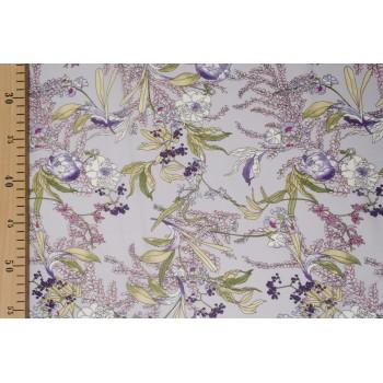 Креповый шифон - цветы в лавандовых оттенках
