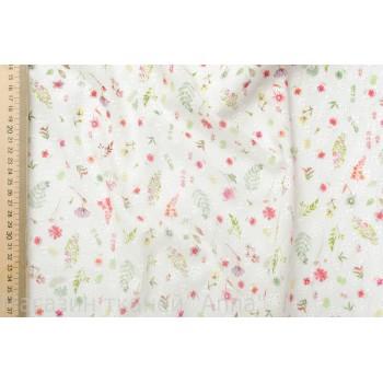 Бледно-зеленый хлопок-шитье с цветочным принтом