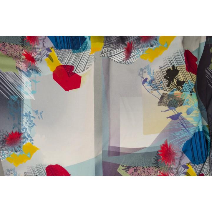 Штапель цветной с абстрактным принтом в голубых тонах