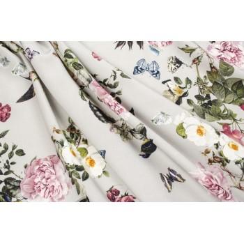 Красивые цветы на штапеле бежево-серого оттенка